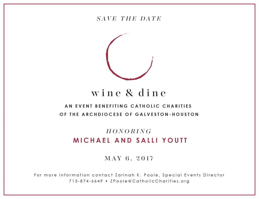 Save the date for the wine & dine 2017 fundraiser