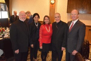 Monsignor Sullivan and Marion Boteju from Catholic Charities New York with His Eminence Daniel Cardinal DiNardo, Catholic Charities President Cynthia N Colbert and Board Chair Kevin K Rech.