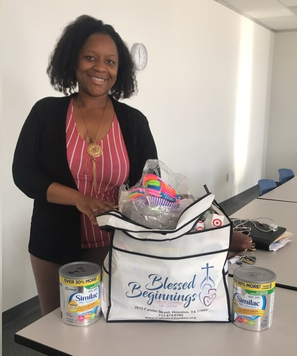 Blessed Beginnings client receives baby supplies