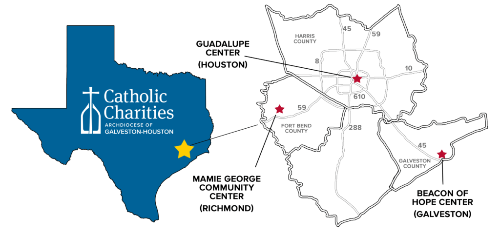 Map of Catholic Charities' regional food pantries in the Greater Galveston-Houston area