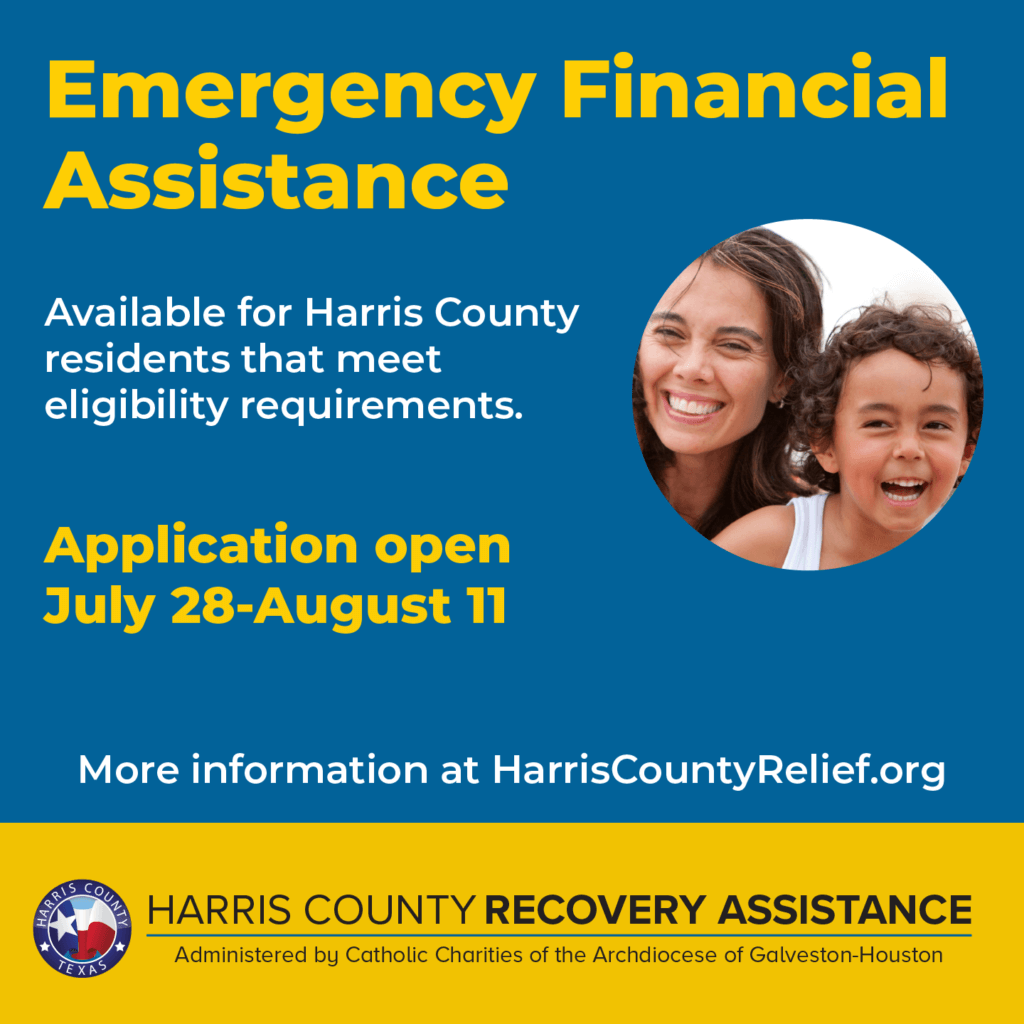 Harris County Recovery Assistance Emergency Financial Assistance Applications open july 28 through august 11, 2021